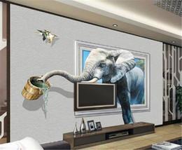 Крытые обои онлайн-Пользовательские Цифровой Печати HD Wallpaper 3D Стерео Слон Пить Росписи Обои Крытый ТВ Фон Настенные Росписи Обои