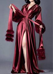 2019 seide nachthemd in voller länge Frauen Silk Bademantel Fur Nightgown Pyjamas der Frauen Luxux Abendkleider Hausmantel Nightgownrobe Lounge Wear Plush Cuff Ganzkörperansicht günstig seide nachthemd in voller länge
