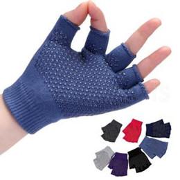 Gants tricotés à moitié drole en Ligne-Gants tricotés pour femmes Gants thermiques Chaud Épaissir Fitness Yoga Exercices de plein air Moitié-Doigt Fitness Monter Gants antidérapants LJJR168