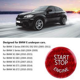 Nuevo diseño de etiqueta de coche online-Botón de Interruptor de Parada del motor Etiqueta de la Cubierta de Fibra de Carbono para BMW E Underpan Autoadhesivo Diseño Auto Etiqueta de Coche Nuevo