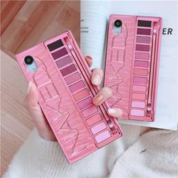 iphone rojo negro funda silicona Rebajas Moda camuflaje maquillaje caja de sombra de ojos caja del teléfono de la cubierta suave divertida para el iPhone 6 6s 6splus 7 8 más X XR XS MAX