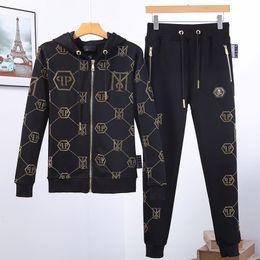 anzug mantel stile Rabatt Printed Phillip Plain Trainingsanzug Herren Frühjahr Trainingsanzug Set 2019 New style Sportswear Anzug für Mann Track PP Anzüge Sets 2pcs Coat + Pants