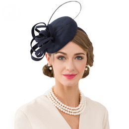 2019 chapeaux de fascinateur royal Royal Navy Blue Ladies Chapeau Pour Mariages Pillbox Fascinator Laine Femmes Fedoras Vintage Cocktail Chapeaux promotion chapeaux de fascinateur royal