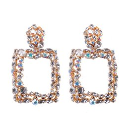 Geometrische ohrringe online-Vintage Bunte Kristall Geometrische Großen Platz Aussage Ohrringe Für Frauen Ohrringe Modeschmuck Tropfen Baumeln Ohrringe CE475
