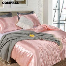 Edredón rosa sólido online-Conjunto de ropa de cama de seda sólida de COMFEEL Edredón de lujo Funda de edredón Fundas de almohada Princesa Rosa Doble tamaño hoja de cama para niños Juegos de edredón suave