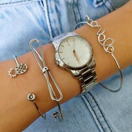 2019 brazalete de latón africano (Ninguno Reloj) 1 Unidades de plata Sentidos Brazaletes Brazaletes Simple Geométrico Hoja Nudo Metal Bohemio Retro Pulsera Joyería