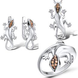 Gecko halsketten online-KOFSAC 2019 heißen Verkaufs-925 Sterlingsilber-Art und Weise Schmucksachen für Frauen Silber Gecko Brown Zircon-Halskette, Anhänger, Ohrringe Ring