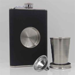 Colpo di tazza set online-Fiaschetta in acciaio inossidabile da 8 once con imbuto e tazza per fiasco, pallone da whisky per liquore per uomo e donna