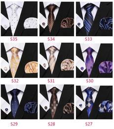 großhandel gestreifte krawatten für männer Rabatt Seidenkrawatte Set Tupfen Art-Reihe Krawatte Hanky Cufflinks klassische Silk Jacquard Woven Men Tie Set 8.5cm Breite Geschäft JJ19965