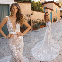 cb0a3aad19b Lace Mermaid Wedding Dresses Deep V Neck Sexy Backless Sweep Train 2019  Sweep Train Beach Wedding Dress Plus Size Vestidos De Novia