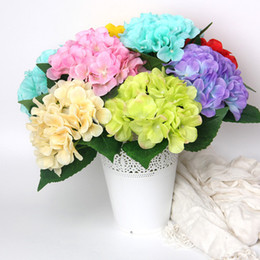 Única hortênsia on-line-Simulated Hydrangea pieces of Hydrangea single branch silk flower wedding bride holding flower flower arranging Hydrangea EEA397
