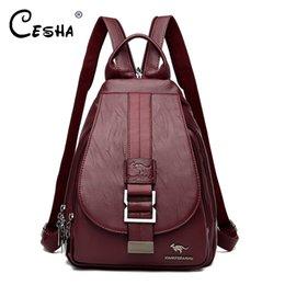 Bonitas mochilas para meninas on-line-Moda Versão atualizada Mulheres Backpack Feminino Couro Durable Shoulder Bag bonito do estilo Girls School Travel Bag Backpack
