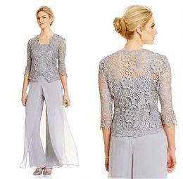 Nuevos elegantes 2020 pantalones de plata madre Traje 3/4 de novia de encaje de visitantes más el tamaño de la ropa de noche formal de la madre desde fabricantes
