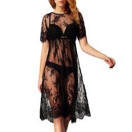 Mulheres Senhoras Sexy Ver Throug Lace O Pescoço Vestido de Malha Babydoll Lingerie Pijamas Longo Vestido De Camisola de