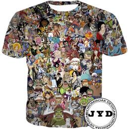 Anime de uma peça camiseta on-line-Mens T Shirt Luffy Tee Shirts 3D Printed Anime Shirts One Piece tshirt Summer Short Sleeve Tee 3d Cartoon t shirt S-5XL 10 Styles
