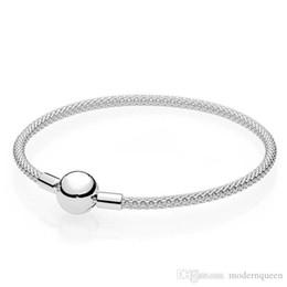2019 brazaletes de malla Pulsera del brazalete S925 auténticos ataques de plata esterlina encantos de pandora estilo para las mujeres pulsera de malla 596543 H8 rebajas brazaletes de malla