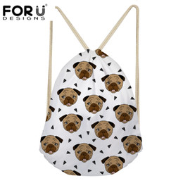 FORUDESIGNS Cute Pug Printing Drawstring Bags For Children Package Bag  Girls Boys Small Coin Purse Pouch Portable Shoes Bags New 526df27f77a1b
