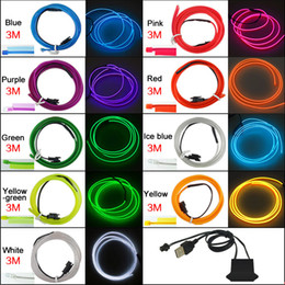 Toptan 9-color 12 V USB Güç Invertör 3 M Araba Esnek Kalıplama EL Neon Glow Aydınlatma Halat Şerit Ile Fin # 5770 nereden güç şeritleri toptan ticareti tedarikçiler