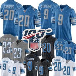 Футбольные майки онлайн-Детройт Лайонс Джерси 20 Барри Сандерс 9 Matthew Stafford 23 Дарий Slay Джерси Топ Mens 88 T.J. Hockenson трикотажные изделия футбола