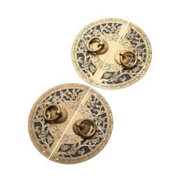 Maniglie in ottone online-RELD cinese antico hardware ottone tondo vintage pull manopole maniglia per armadio armadio scatola di legno mobili maniglia DRELD cinese Antiq ...
