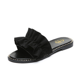 2019 zapatos de moda de corea del sur La nueva versión surcoreana de 2019 Lace Suede for Women Girls Ladies Fashion Zapatillas Scuffs Sandala Casual Cómodo para usar zapatos zapatos de moda de corea del sur baratos