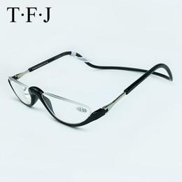 Óculos pendurados de plástico on-line-Unisex Metade Sem Aro Magnético Dobrável Leitores de Óculos de Leitura 1.0 1.5 2.0 2.5 3.0 Ajustável Pescoço Pendurar Ímã De Plástico De Óculos C19042001