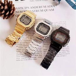 2019 relojes multifuncionales para hombres Modelos ordinarios GMW-B5000 DW5600 reloj deportivo de cuarzo para hombres de múltiples funciones, pantalla LED a prueba de agua y a prueba de golpes Envío gratis relojes multifuncionales para hombres baratos