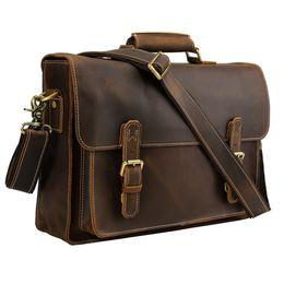 bolsas cruzadas de oficina Rebajas TIDING Hombres Maletines Oficina Laptop Bag Vintage Style Cross Body Hombro Messenger Bag cuero de vaca 10995 # 123774