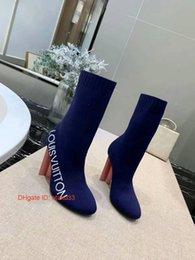 patrón de arranque libre Rebajas 2019 Mujeres Femenina Bombas puntiaguda patrón del dedo del pie postales gruesas de los altos talones Botas libres del envío botas de mujer