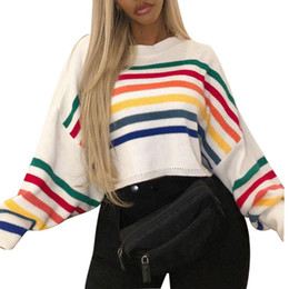 2019 damen kurzarm pullover Mode Winter Frauen Dame Rainbow Bunte Streifen Print Langarm Oansatz Damen Pullover Kurze Strickwaren Pullover Jumper günstig damen kurzarm pullover