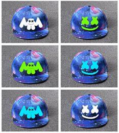 paar mütze für den sommer Rabatt DJ Marshmellow Hut Baseball Cap Street Hip Hop Marshmallow Lächeln Gesicht Flat Caps Blau Sommer Hüte für Kinder Jugendliche Erwachsene WomenMen Paar
