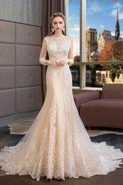 Bateau Neck Lace Tüll Meerjungfrau Brautkleider mit Applikationen Champagner 2019 3/4 Langarm Brautkleid Vestidos De Novia von Fabrikanten