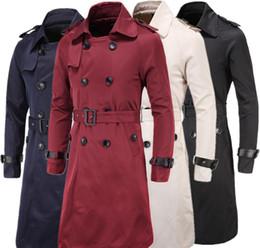 Cinturones de gabardina para hombre online-3XL larga para hombre del guisante del foso Personalizar salvaje del otoño foso delgada abrigos hombre sólido abrigo con cinturón Trench doble de pecho J160815