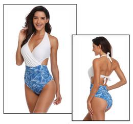 Taille plus maillot de bain en Ligne-Maillots de bain pour femmes Maillot de bain une pièce Slim sexy bikini Imprimé feuille Maillots de bain Taille plus Élasticité élevée Avec coussinet Pas de support en acier Nouvelle arrivée