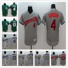 frete grátis Desconto alta qualidade dos homens da Royals camisa de beisebol 13 # Salvador Perez 4 # Alex Gordon verde cinza branco jerseys de basebol liberta