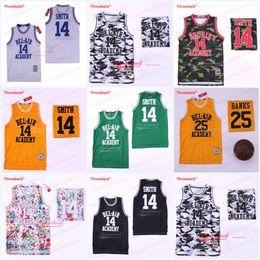 Baloncesto jersey amarillo negro online-El príncipe de Bel-Air 14 Will Smith 25 Jersey Carlton Banks Película Negro Verde Amarillo Baloncesto bordado cosido envío