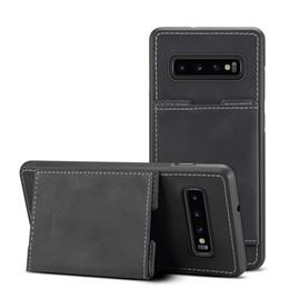 billetera tarjeta de crédito soporte cuero Rebajas Para SAMSUNG S10 S10Plus PU Tarjeta de crédito Cartera de cuero Caja Ranuras para tarjetas Soporte de teléfono para SAMSUNG S10e
