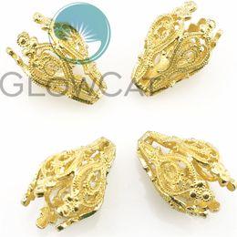 22355 10PCS KC Gold Plated Copper Beauty Rose Torus Bead Cap Beads Charm