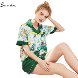 neue frauen zwei stück kurze satz Rabatt Smmoloa Sommer Short Sleeve Seide Pyjama Set zwei Stücke Set Frauen-Druck-Nachtwäsche Neu