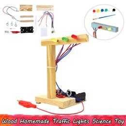 iluminação científica Desconto Madeira caseiro semáforos experimento ciência brinquedos diy montagem brinquedos educativos para crianças melhorar a capacidade do cérebro presentes