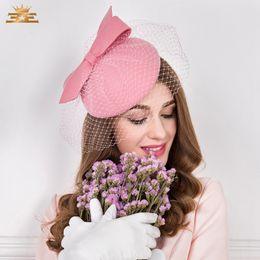 Chapéu pequeno britânico on-line-Hat Mulheres Winter Party New britânica Fedoras Moda meninas moda vestido de festa Ladies Cap Small Cap Wool Hat B-4795