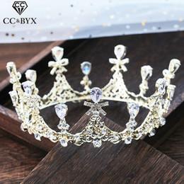 CC Hochzeit Schmuck Krone Tiara Haarbänder Barock Glanz Verlobungshaarzusätze für Braut Strass Kopfschmuck XY363 von Fabrikanten