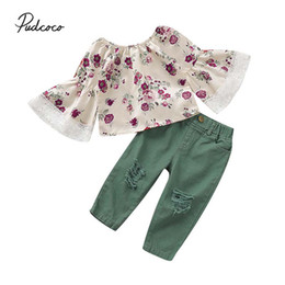 girl jeans top Promo Codes - 2019 Baby Spring Autumn Clothing 2PCS Toddler Kids Baby Girl Flare Sleeve T-Shirt Tops+Ripped Jeans Pants Outfit Clothes 18M-6T