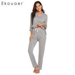 67f6a944d2d 2019 pantalones Ekouaer Conjuntos de pijamas Mujer Casual Ropa de dormir  Sólido Camisas de manga tres
