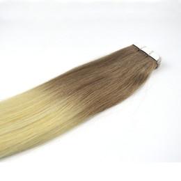 Ombre # 6/613 16-24 Erkekler için PU-Band Menschenhaar-Erweiterungs-Brezilya REMY nereden ucuz renk bandı saç uzatmaları tedarikçiler