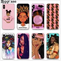 Casos telefones meninas on-line-Para iphone 7 2bunz melanin poppin aba preto menina mulheres arte suave silicone phone case para iphone x 6 6 s 7 8 plus 5 5S se cobrir
