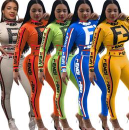 Marka Tasarımcısı kadın koşu takım elbise uzun Kollu IKI parça set eşofman mahsul en tozluk kıyafetler spor gömlek tayt eşofman seksi 34 nereden