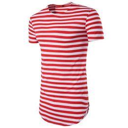 CALOFE Brand New Gestreiften T-shirt Männer Kurzarm Oansatz TopsTees Sommer Grundlegende Klassische Lange T-shirt Mens Streetwear Kleidung von Fabrikanten