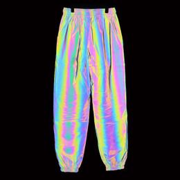 Calças multi coloridas on-line-2019 novos corredores calças dos homens coloridos calças reflexivas hip hop calças dos homens streetwear arco-íris colorido corredor amante sweatpants pantalon homme