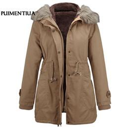 3870547ad6f7 Puimentiua inverno donna parka cappotti collo in pelliccia sintetica con  cappuccio medio-lungo imbottito giacche cotone spesso parka vestiti coreano  2019